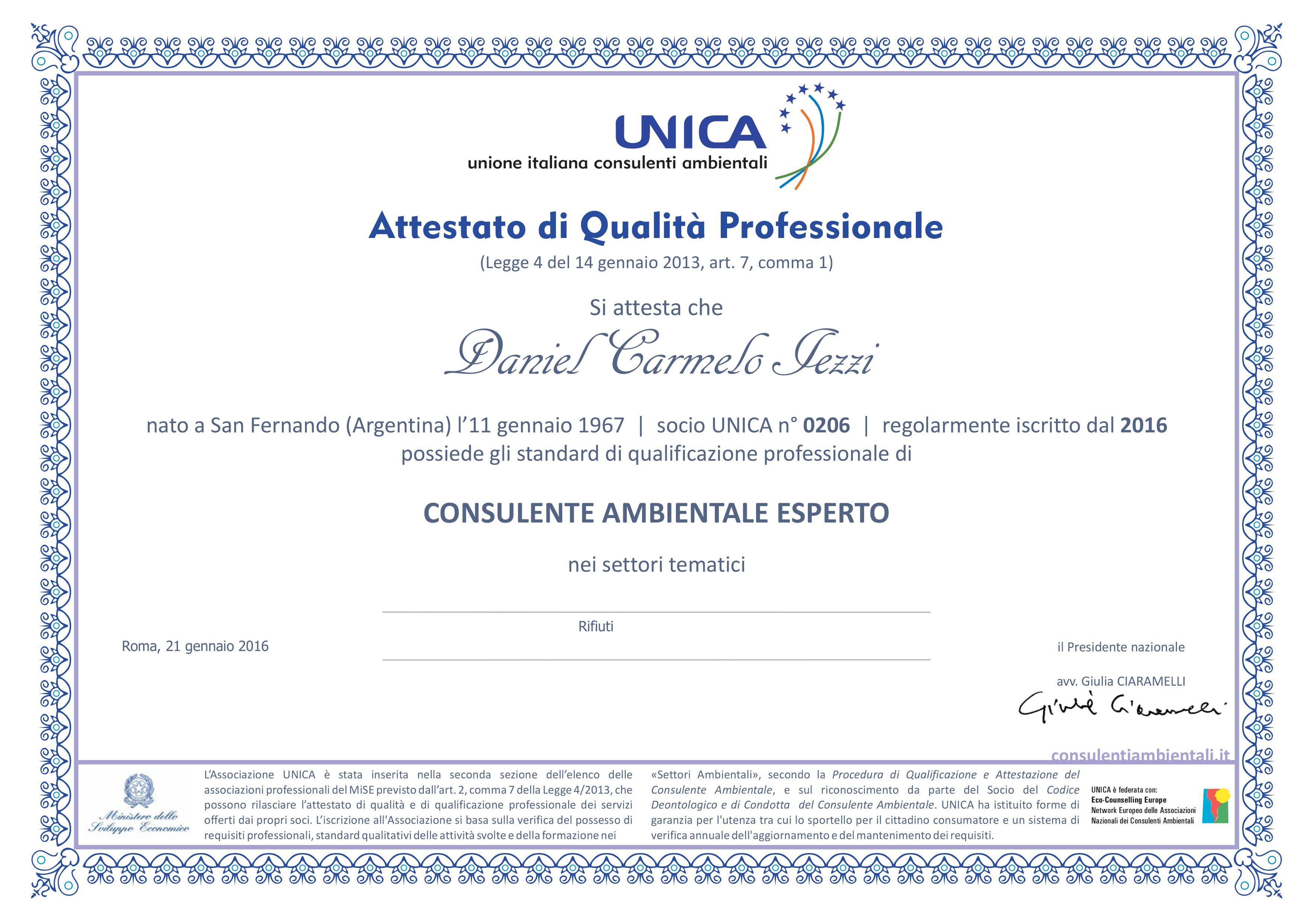 Attestato di qualità professionale UNICA, consulenza ambientale